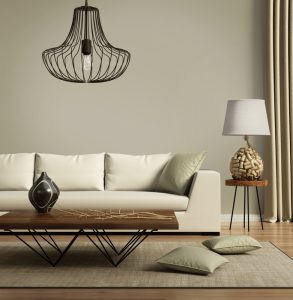Rendering of a Beige contemporary modern sofa with green cushions